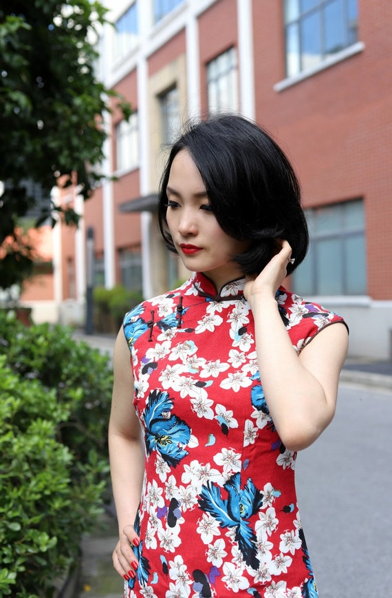 moderne rot wei223 blau floral cheongsam zeitgen246ssische
