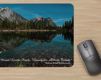 The Desktop Combo Mount Lorette Ponds Kananaskis Alberta, Mug, Free Delivery, Photography, Rocky Mountains, Hiking, Camping, home office.