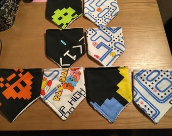 Handmade Pac-Man and Space Invader dribble bibs