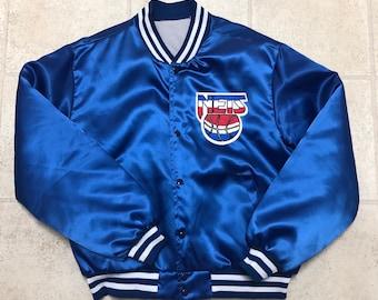 bc8a6663b3a New Jersey Nets Vintage Blue Bomber Satin Jacket