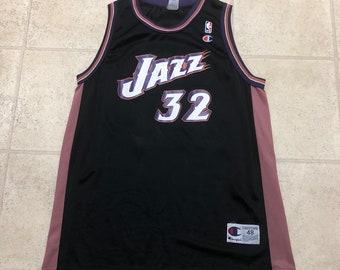 98eda6318 Utah Jazz Karl Malone Vintage Black Champion Basketball Jersey