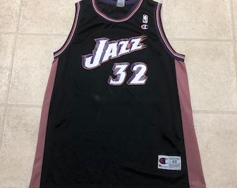 67e3dba36 Utah Jazz Karl Malone Vintage Black Champion Basketball Jersey