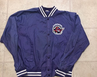 Toronto Raptors Vintage Purple And White Bomber Satin Jacket 51080c098