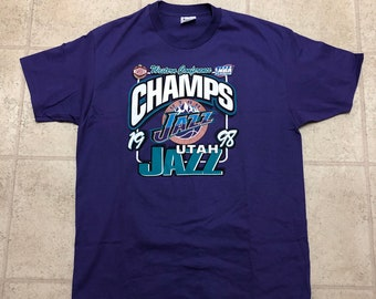 b650343502f0 Utah Jazz 1998 Western Conference Champions NBA Finals Big Logo Vintage  Champion Purple Shirt