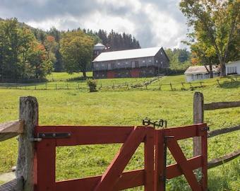 New England Photography - Field Gate to Hillside Barn Print - Rupert, Vermont