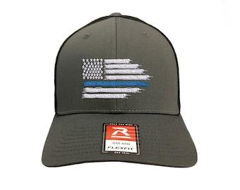 Bravest   Finest Blue Lives Matter Tattered Flag Trucker Hat 168bed4ae47