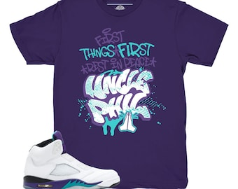 924426edf570 Jordan 5 Grape Fresh Prince Uncle Phil Purple Sneaker Match Shirt