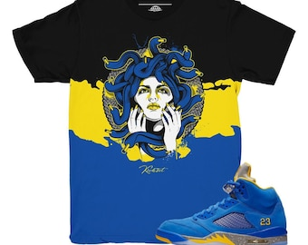 64da855a09aaa7 Jordan 5 Laney JSP Medusa Waves Sneaker Match Shirt