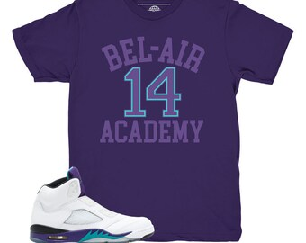 99485396b6ad Jordan 5 Grape Fresh Prince Bel Air Purple Sneaker Match Shirt