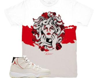 298b09fd0953 Jordan 11 Platinum Tint Medusa Roses Sneaker Match Shirt