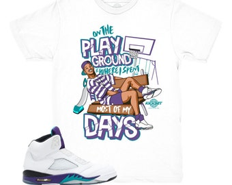 2a1ef64c666840 Jordan 5 Grape Fresh Prince Playground White Sneaker Match Shirt
