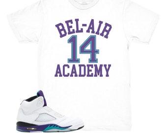 558079900781 Jordan 5 Grape Fresh Prince Bel Air White Sneaker Match Shirt
