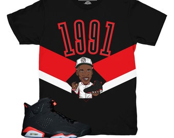 72fa21900bfb35 Jordan 6 Infrared 1991 Sneaker Match Shirt