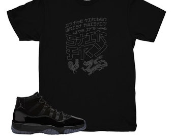 Cap and Gown 11 Stir Fry Shirt | Match Air Jordan 11 Cap and Gown Sneakers