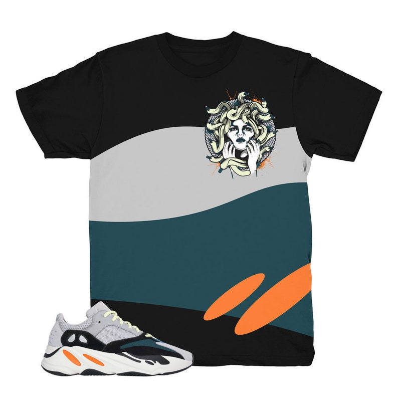 171acf970 Yeezy 700 Wave Runner Medusa Black Sneaker Match Shirt