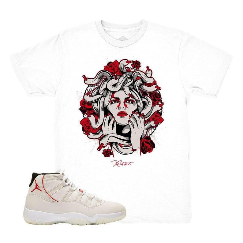 859b110f5d142e Jordan 11 Platinum Tint Medusa White Sneaker Match Shirt