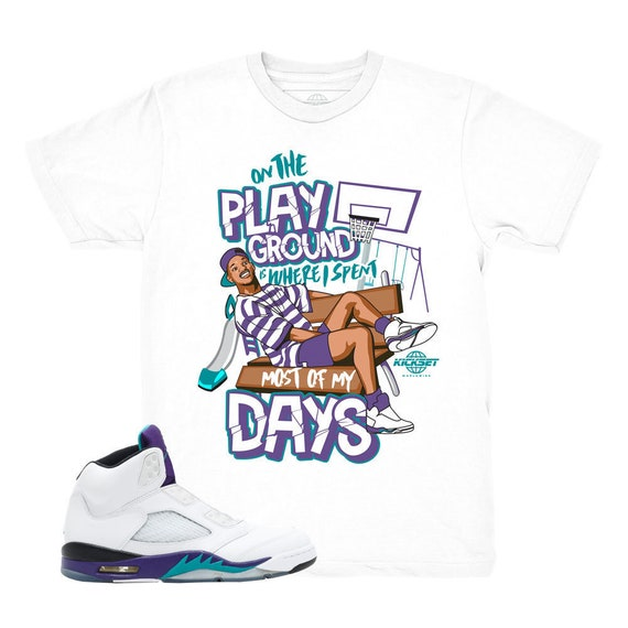 72d5616c4ba Jordan 5 Grape Fresh Prince Playground White Sneaker Match | Etsy