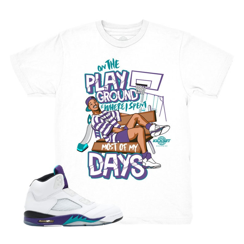 5c0bd6e473fdd Jordan 5 Grape Fresh Prince Playground White Sneaker Match Shirt