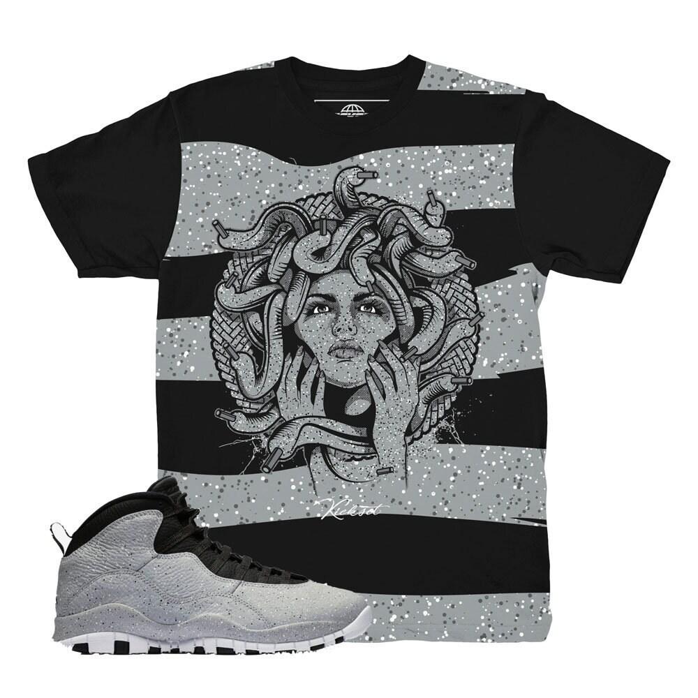 Jordan Jordan Jordan 10 Cement Medusa Sole Sneaker Match Shirt 884b83