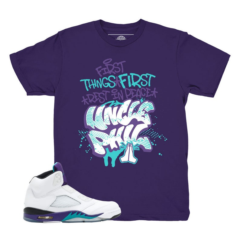 12bafb37b637f Jordan 5 Grape Fresh Prince Uncle Phil Purple Sneaker Match Shirt