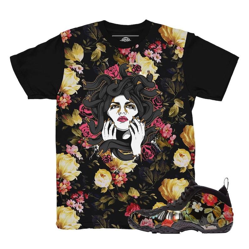 san francisco 81a5c 52408 Foamposite Floral Medusa All Over Sneaker Match Shirt   Etsy