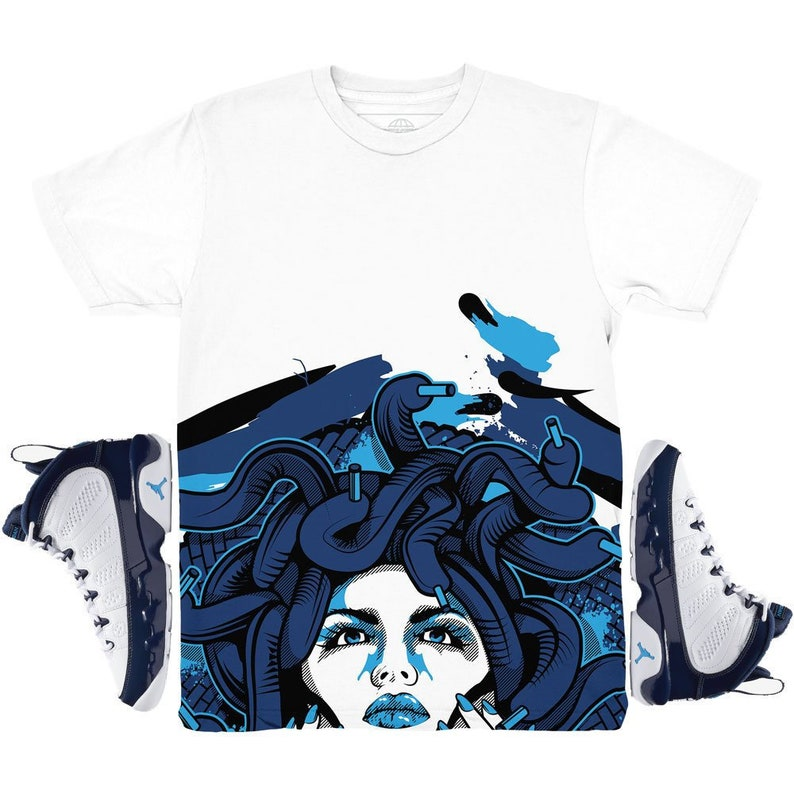 aef16b30385 Jordan 9 UNC All Star Medusa Bottom Sneaker Match Shirt | Etsy