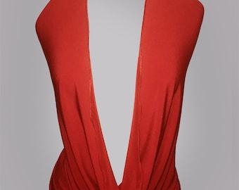 V-neck Halter Neck top, Backless. Red