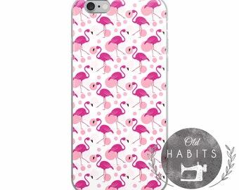 iPhone 6/6s, 6/6s Plus, 7/8, 7/8 Plus, X Case Pattern Seamless Tropical Handmade Pink Flamingo Bird Item Model 04