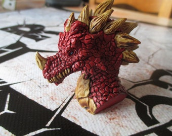 Mini dragon painted bust manually