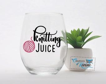 6 verre à vin breloques-knitting thème set