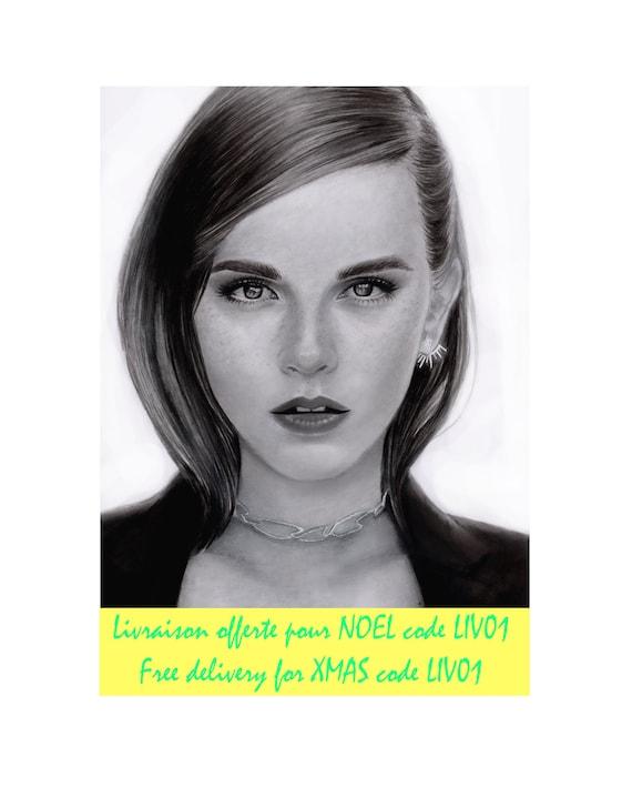 Realistic Portrait Drawing Emma Watson Harry Potter Dessin Etsy