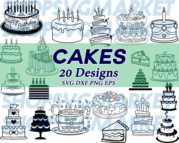 cakes svg, birthday svg, birthday cake svg, dessert svg, baking svg,  wedding svg, cake slice svg, clipart, silhouette, cut file, cricut