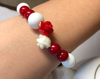 Rose bead with beads