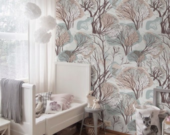Winter Trees - removable wallpaper, colorful, retro, forest, style, woodland, wall mural, paper, pastel, nusery wallpaper, self adhesive #2