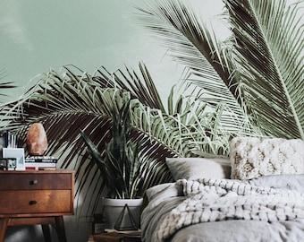 Palm Paradise - removable wallpaper, repositionable, monstera, palms, banana, sun, paradise, island, trendy, exotic design, green #60