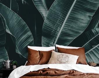 Big Exotic Leaves - removable wallpaper, repositionable, nursery, bursh, botanical, abstract, tropical, exotic, green, verdant, summer #81