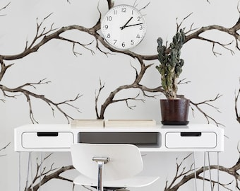 Tree Branches - removable wallpaper, nature wallpaper, retro, vintage style, wall covering, forest, woods, woodland, autumn wallpaper #23