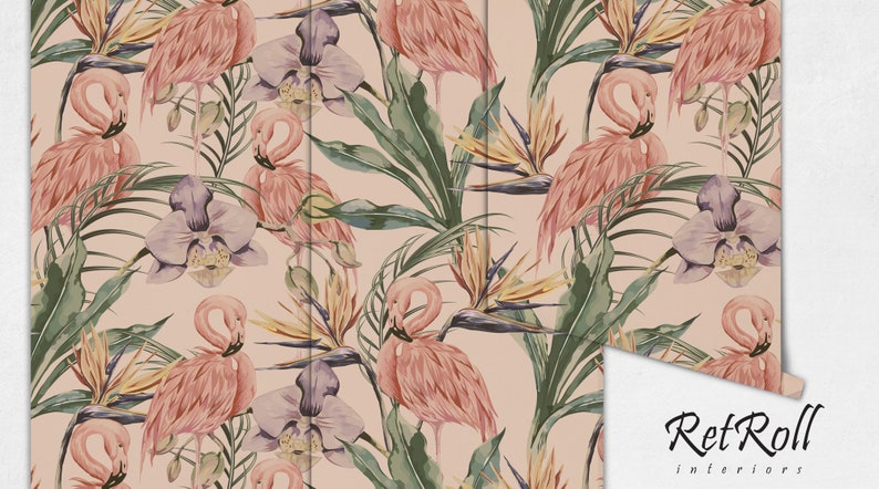 pinky self adhesive cute wall covering removable wallpaper trendy flaming wildlife summer Tropical Flamingo pastel #70 forest