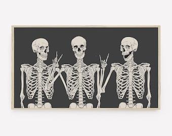 Halloween Samsung Frame TV Art, Funny Skeletons, Fall Art, Modern Halloween, Digital Download, Instant Download, LG tv Art, Black Beige Art