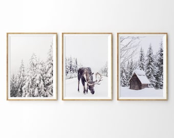 winter theme set of 3 prints winter decor winter photography christmas print christmas wall art forest print snowy trees reindeer snow cabin