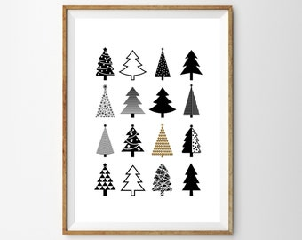 christmas tree print etsy