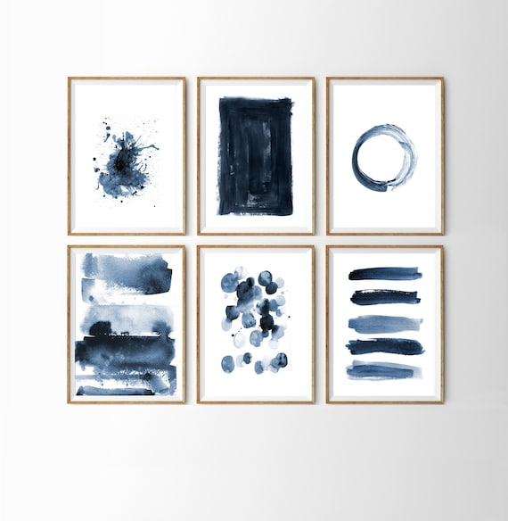 2796c1fe0ad Navy Blue Wall Art Gallery Wall Set Indigo Blue Abstract Wall