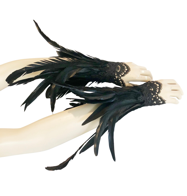Purple steampunk lace wrist cuffs goth cuffs halloween wrist bands feather gauntlets gothic feather cuffs steampunk feather cuffs
