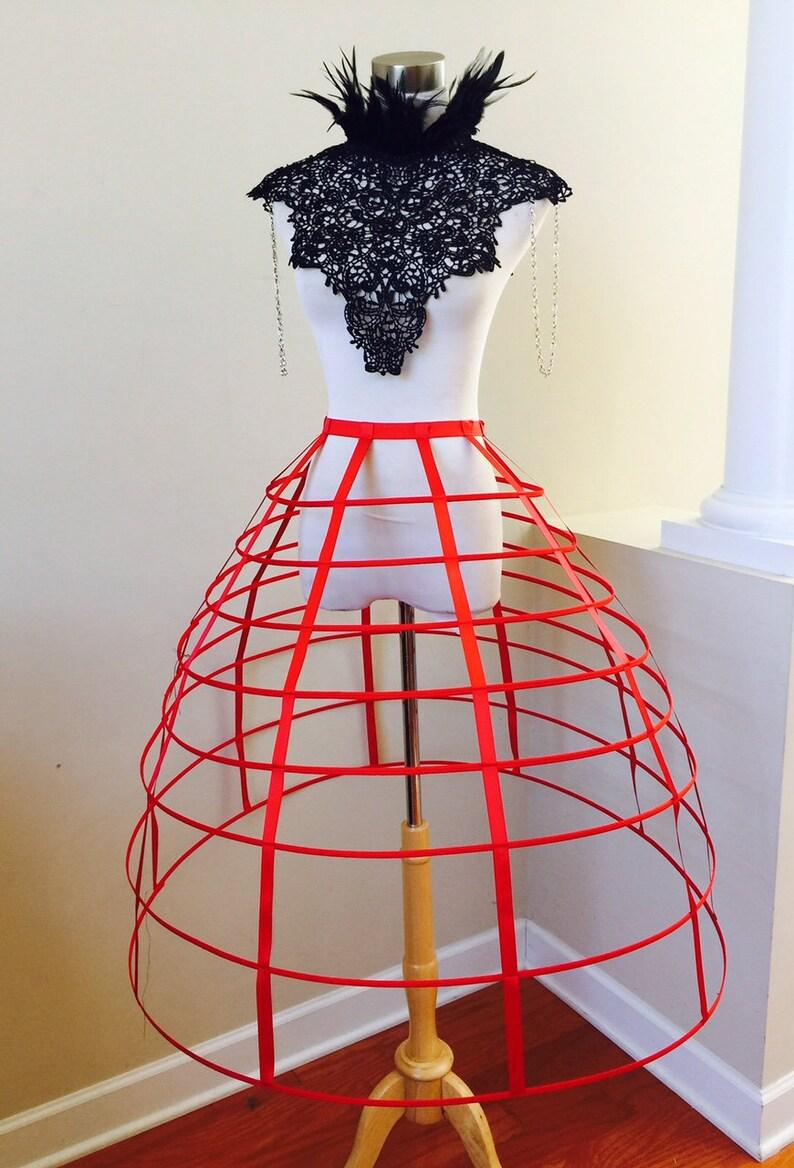 Black  red white  color hoop cage skirt long pannier 8 rows plastic boned crinoline performer costume