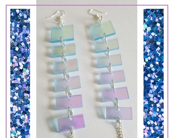 Holographic Iridescent/Clear Dangle Layered Earrings