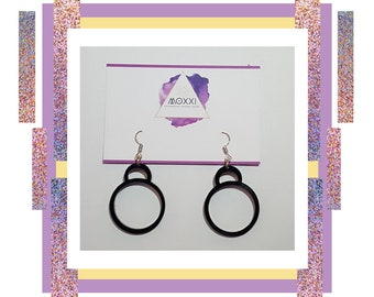 Black Simple Layered Circle Hoop Dangle Earrings