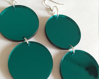 Statement Mirror Teal Layered Circle Dangle Earrings