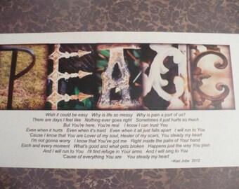 Peace Photo Lettering Word Art Print