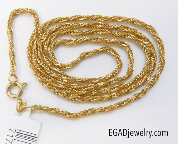 Vintage 14K Yellow Gold Twisted Foxtail Necklace,