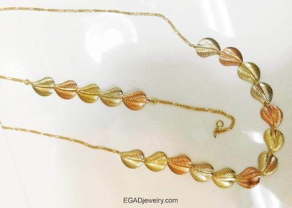 Vintage Estate 14K Tri Color Gold Necklace and Mat
